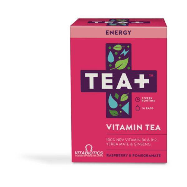 Vitabiotics TEA+ ENERGY Raspberry & Pomegranate 14 Teabags