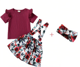 Girls' Floral strapped dress with head-band