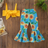 Girls' Crop Top Sunflower Pants Set