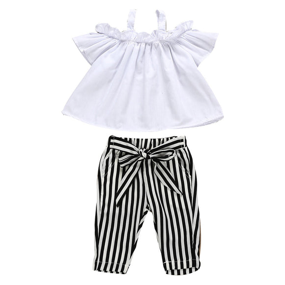 Girls' Bow Lace Halter Striped T shirt Tops+Pants Outfit by Ropa Ninas