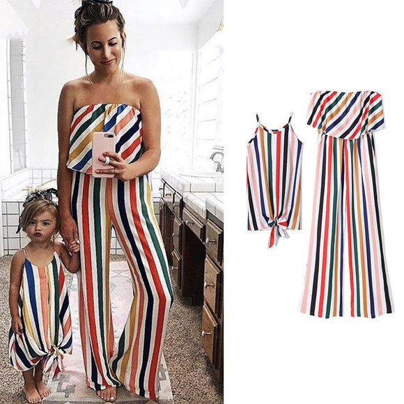 ---Matching Striped colorful Mother and Daughter set