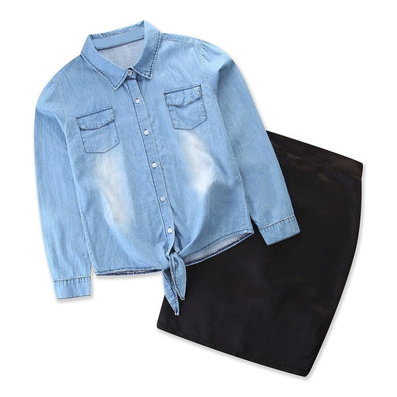 Matching Fashion Denim T-shirt+Skirt sets