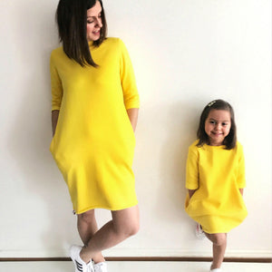 Matching Outfits Yellow Short Sleeve Dress