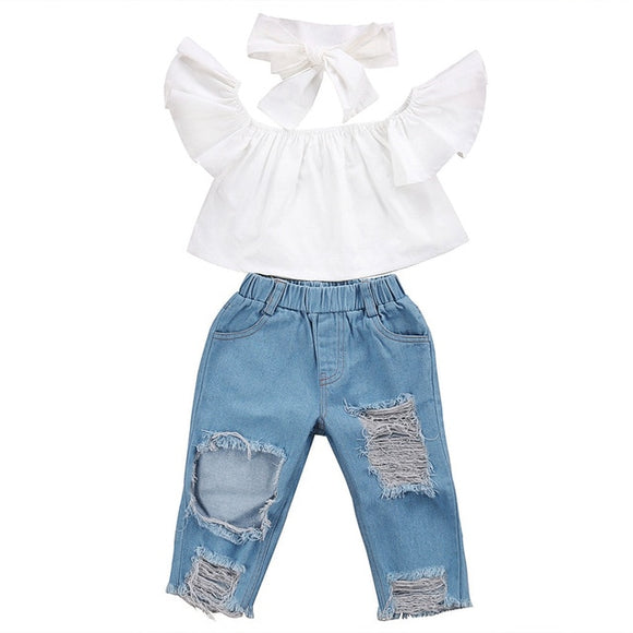 Girls' Off shoulder Crop Tops + Broken Hole Denim Pants & Head band!