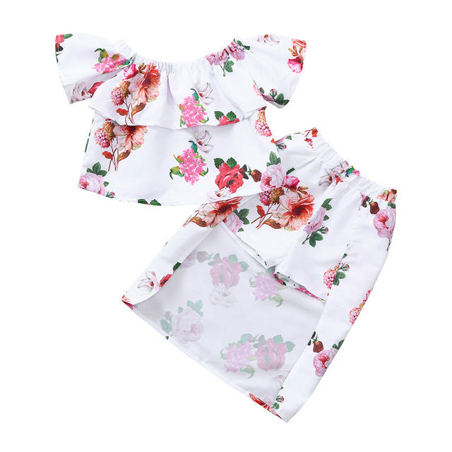 Off Shoulder Floral Print Tops + Short Skirt Outfits