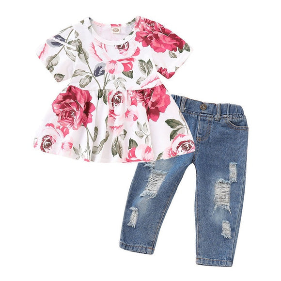 --Girls Floral Crop Tops+Hole Denim Pants