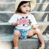 Girls Rose Print T-Shirt Outfit Denim with Shorts set