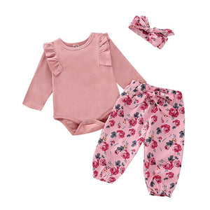 -Girls 3PC  Long Sleeve Solid Fashion Romper+Floral Print Pants+Headband