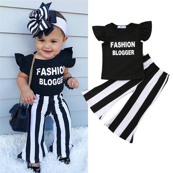 Girls' round neck sleeveless Ruffle letter print pullover T-Shirts & striped Trousers