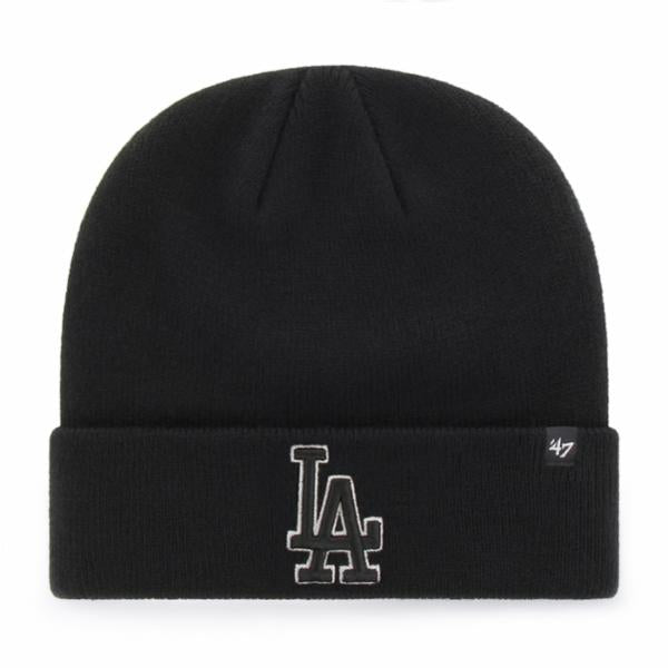 LA Dodgers Black/Black Raised Cuff Knit beanie