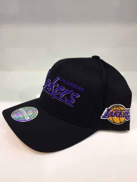 Mop Script Pinch Panel Snapback Lakers Black