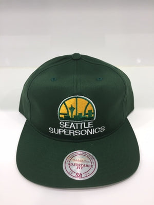 Supersonics Team Logo Deadstock Throwback Flatbrim Green
