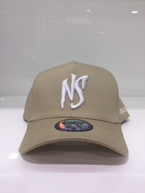 NS Tan White Aframe Snapback Deep Fit