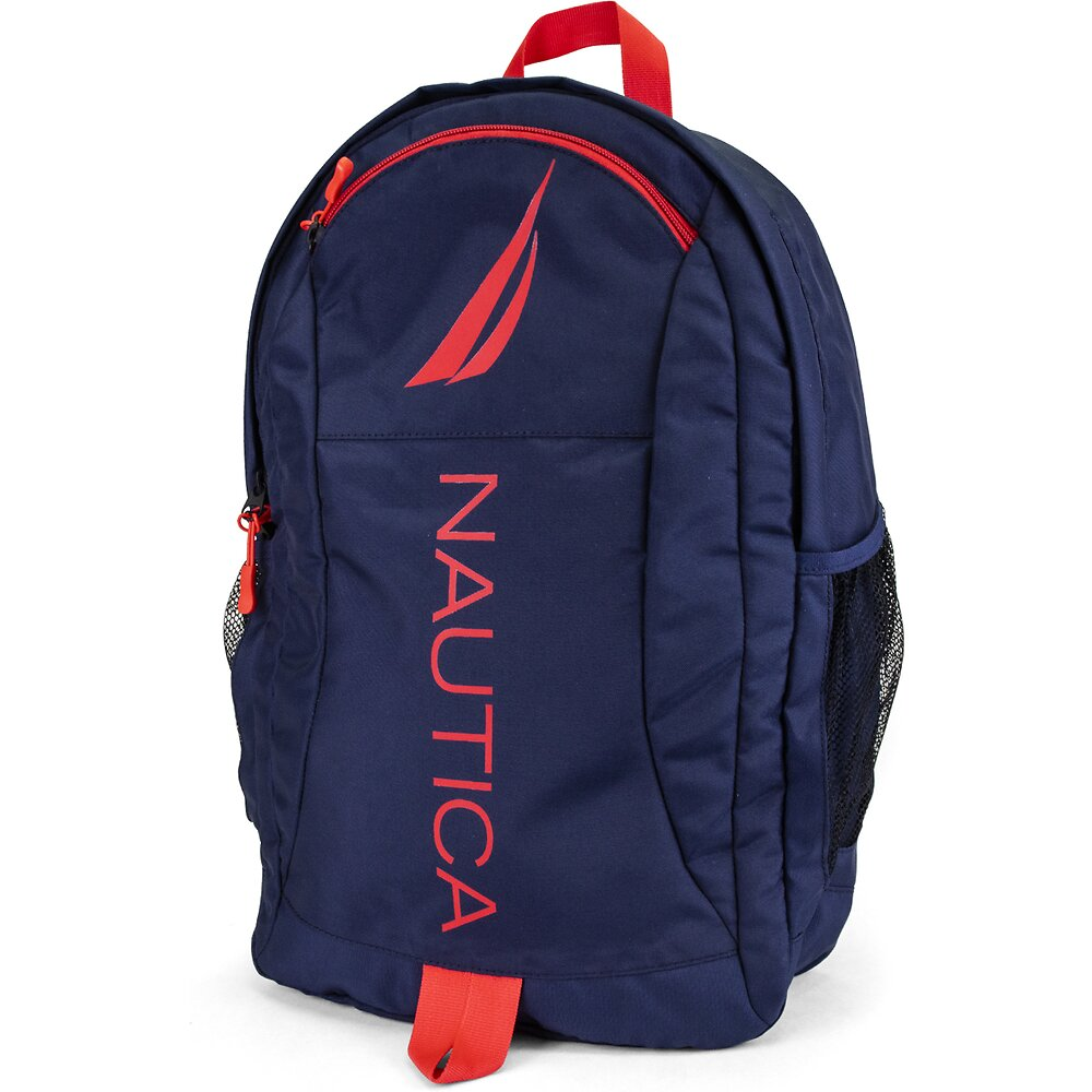 PANELED BRIGHT LOGO BACKPACK NAVY RED