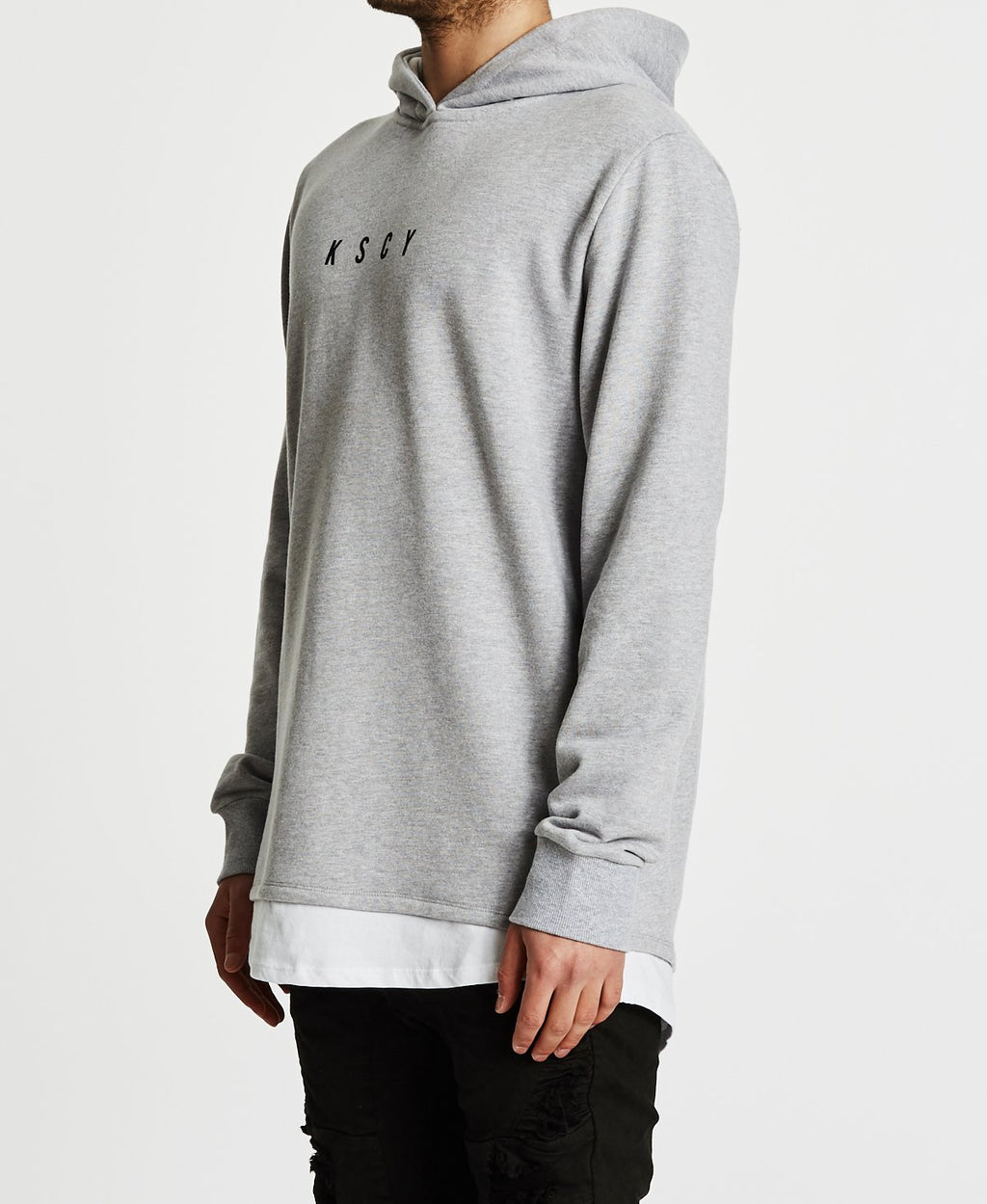 Anti Hero Club Layered Baseball Hooded Sweatshirt Grey Marle