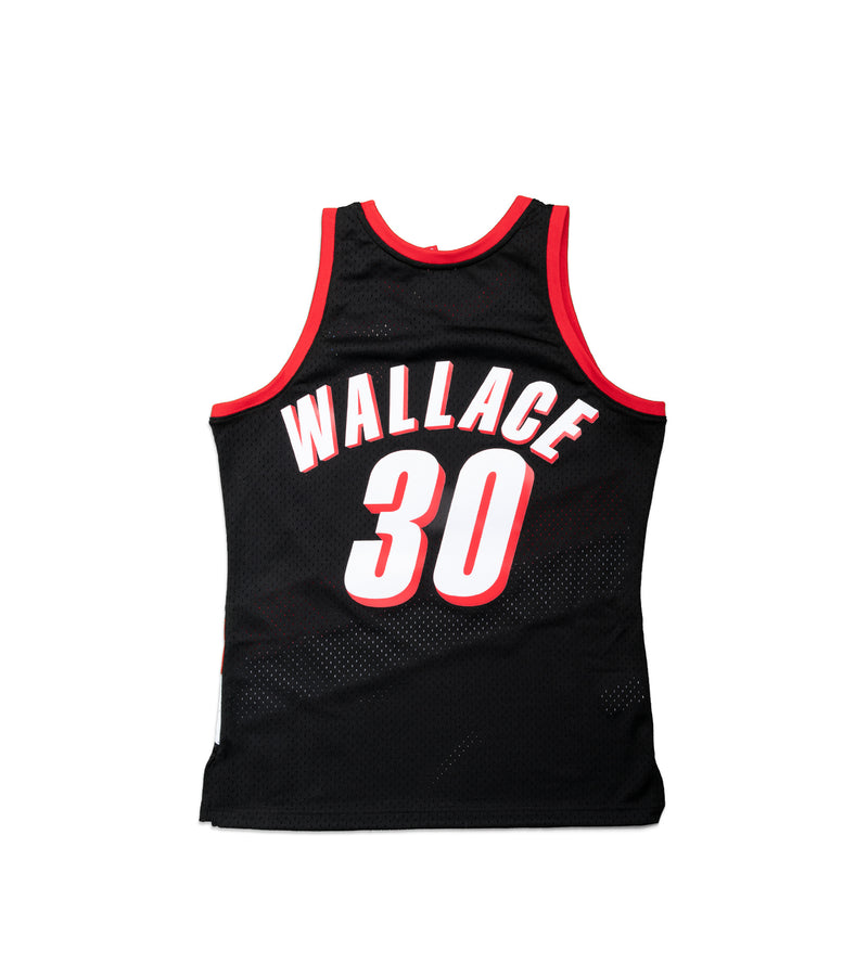 BLAZERS R WALLACE 30 Road 99-00 Swingman Jersey (Black)