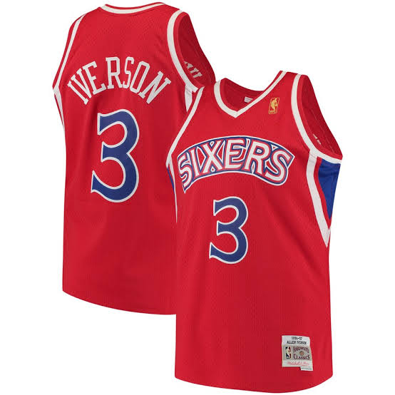 76ERS IVERSON 3 ROAD 96-97 Swingman Jersey (RED)