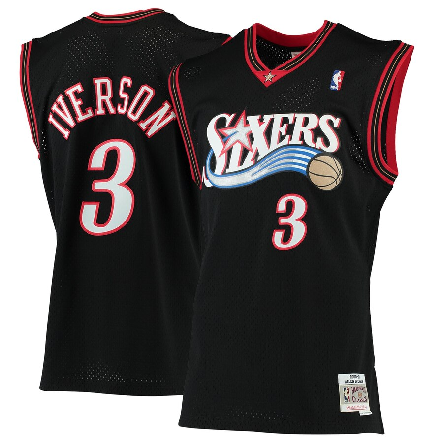 76ERS IVERSON 3 ROAD 00-01 Swingman Jersey Black