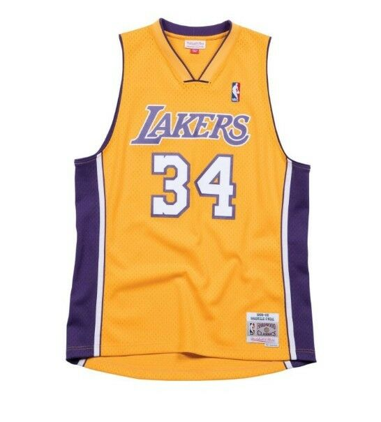 Lakers O NEAL 34 Home 99-00 Swingman Jersey Yellow Purple