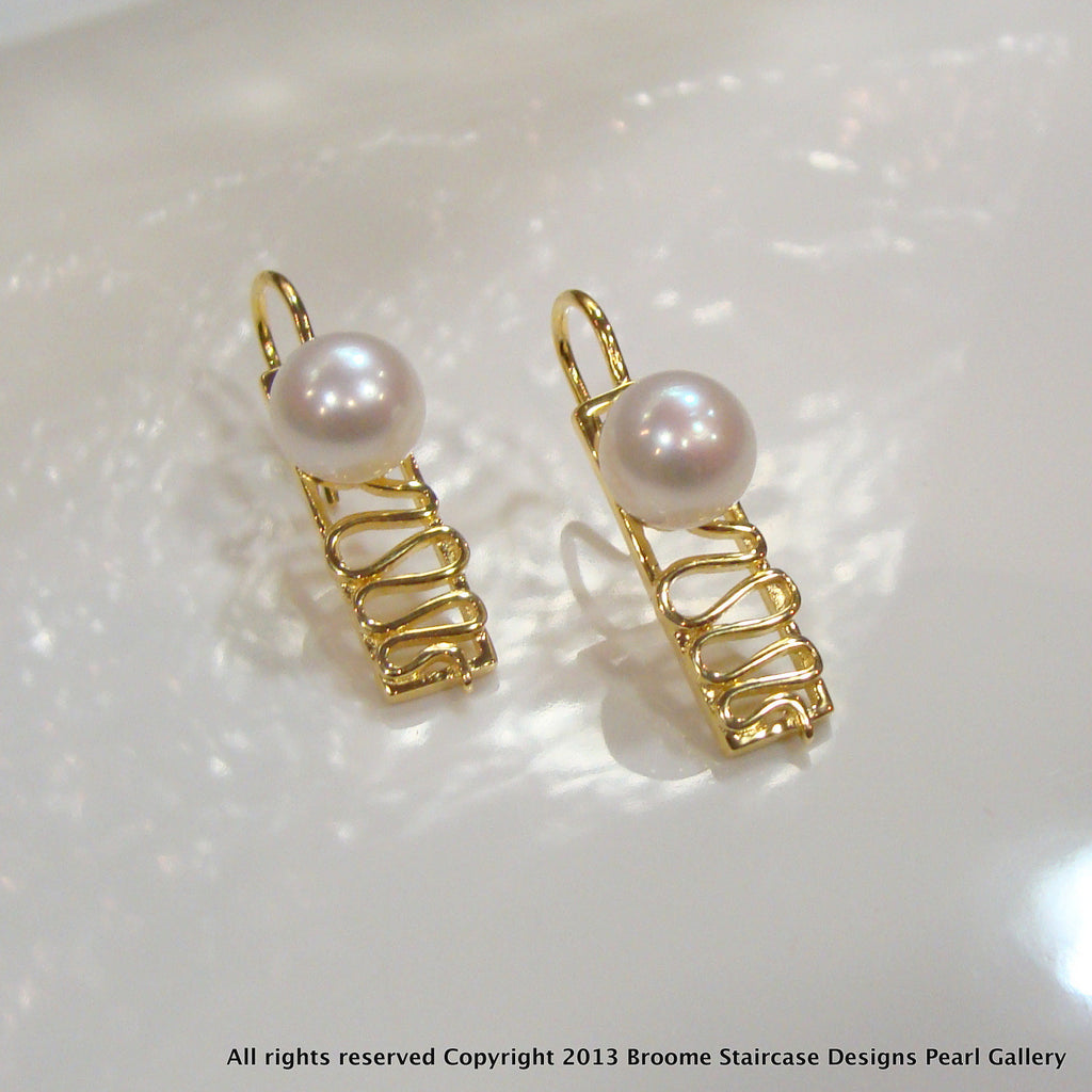 Staircase Pearl Earrings Cape Leveque (s/w,e/p) - Broome Staircase Designs Pearl Gallery