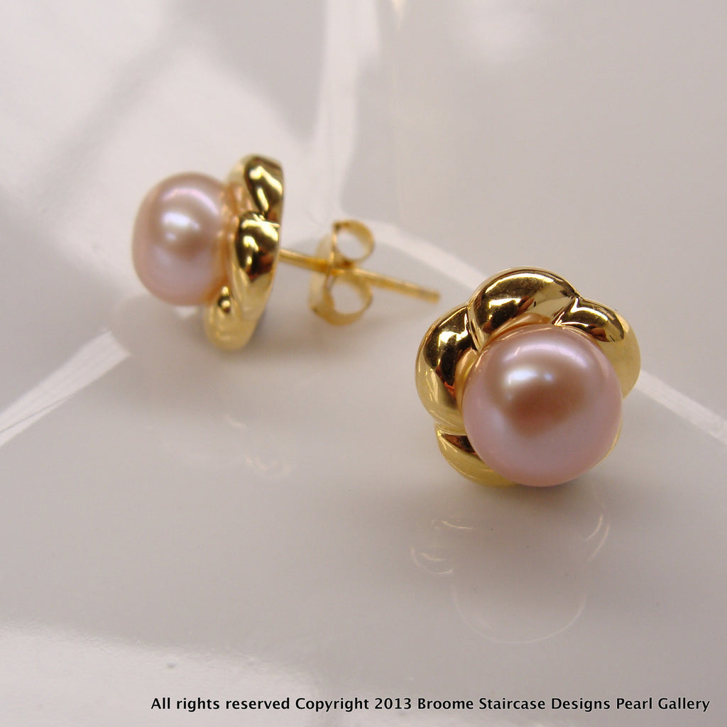 Cultured Freshwater Pink Pearl Studs - Gold >> 50% OFF RIGHT NOW!!