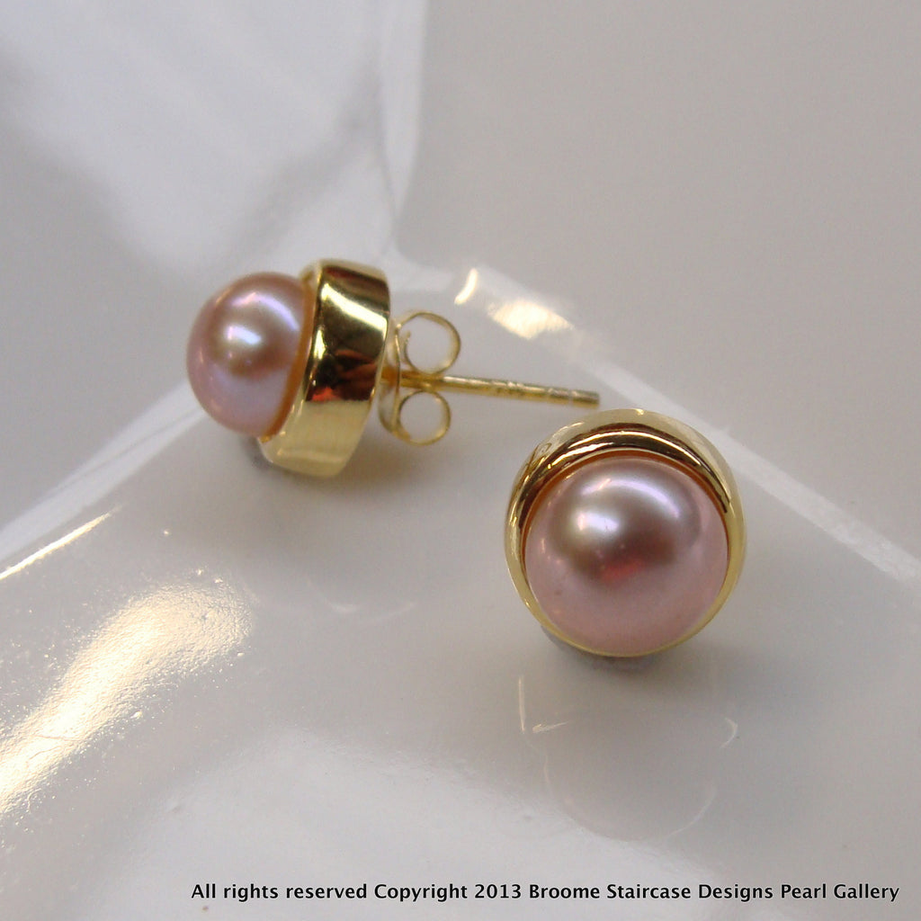 Cultured Freshwater Pink Pearl Studs Gold