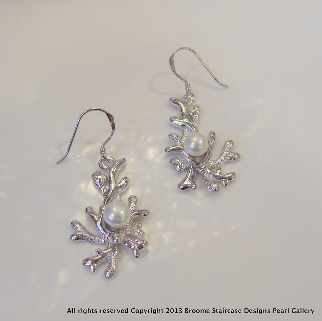 Coral Design Pearl Earrings - Broome Staircase Designs Pearl Gallery