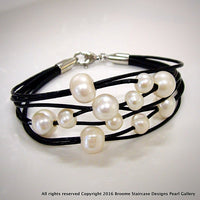 Cultured Freshwater White Pearl Leather Multi Strand Bracelet