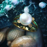 Cultured Freshwater White Pearl Ring Gold
