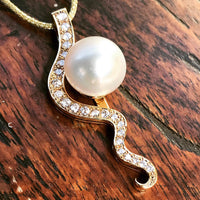 Staircase Pearl Pendant Gantheaume Point 18ct Gold with Diamonds