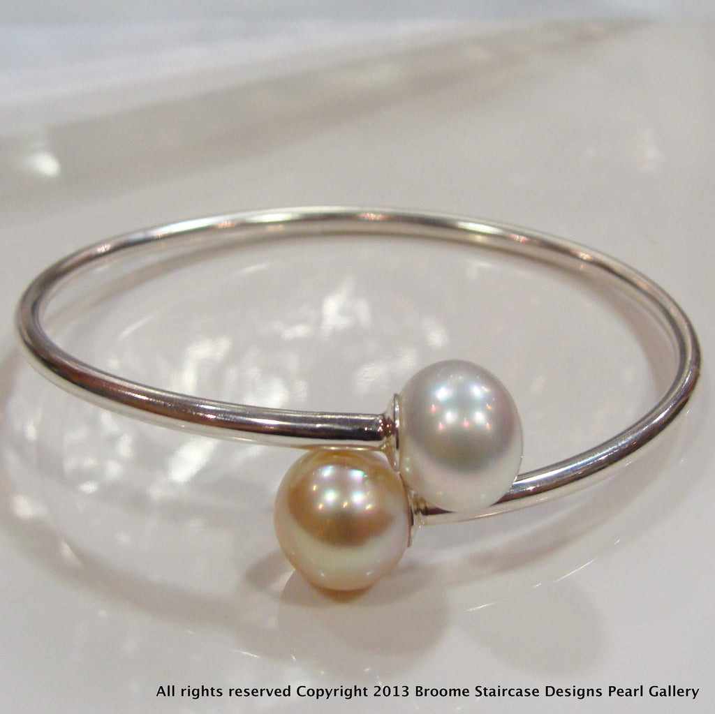 Broome and South Sea Pearl Sterling Silver Flexi Bangle