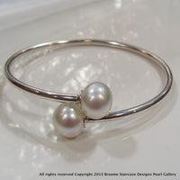 Broome Pearl Bangle  Memory Flex 925 all white - Broome Staircase Designs Pearl Gallery