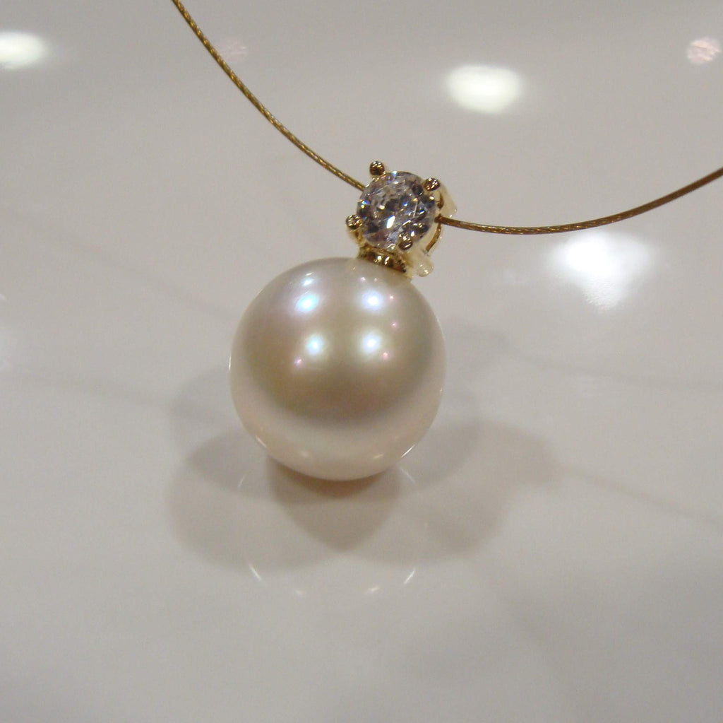 Freshwater Keshi & Cubic Zirconia Necklace - Broome Staircase Designs Pearl Gallery - 1