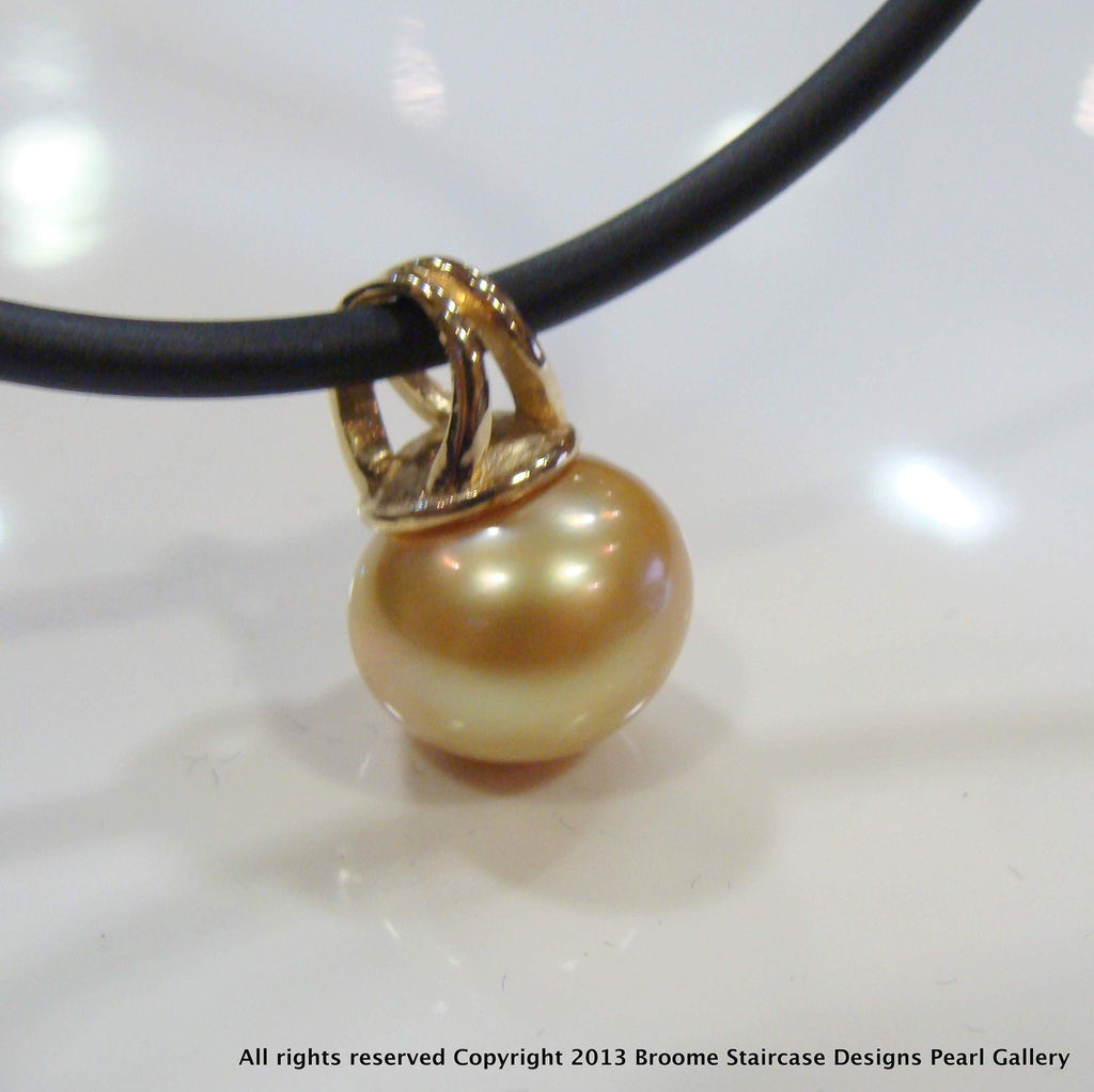 Golden Broome Pearl Pendant 9ct yellow bail - Broome Staircase Designs Pearl Gallery - 1