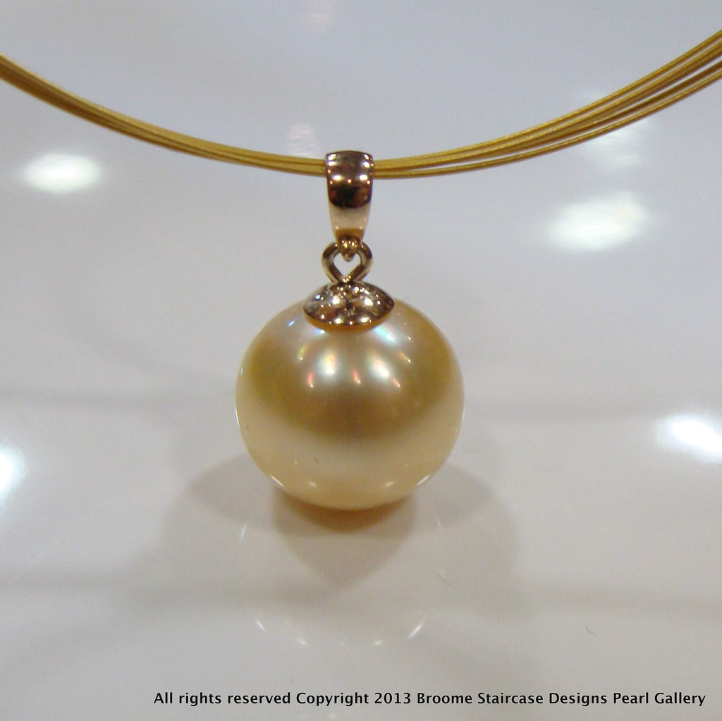 Golden Broome Pearl Pendant 9ct yellow bail - Broome Staircase Designs Pearl Gallery