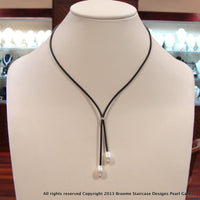 Freshwater Pearl Necklace double drop on Neoprene/extender - Broome Staircase Designs Pearl Gallery - 1