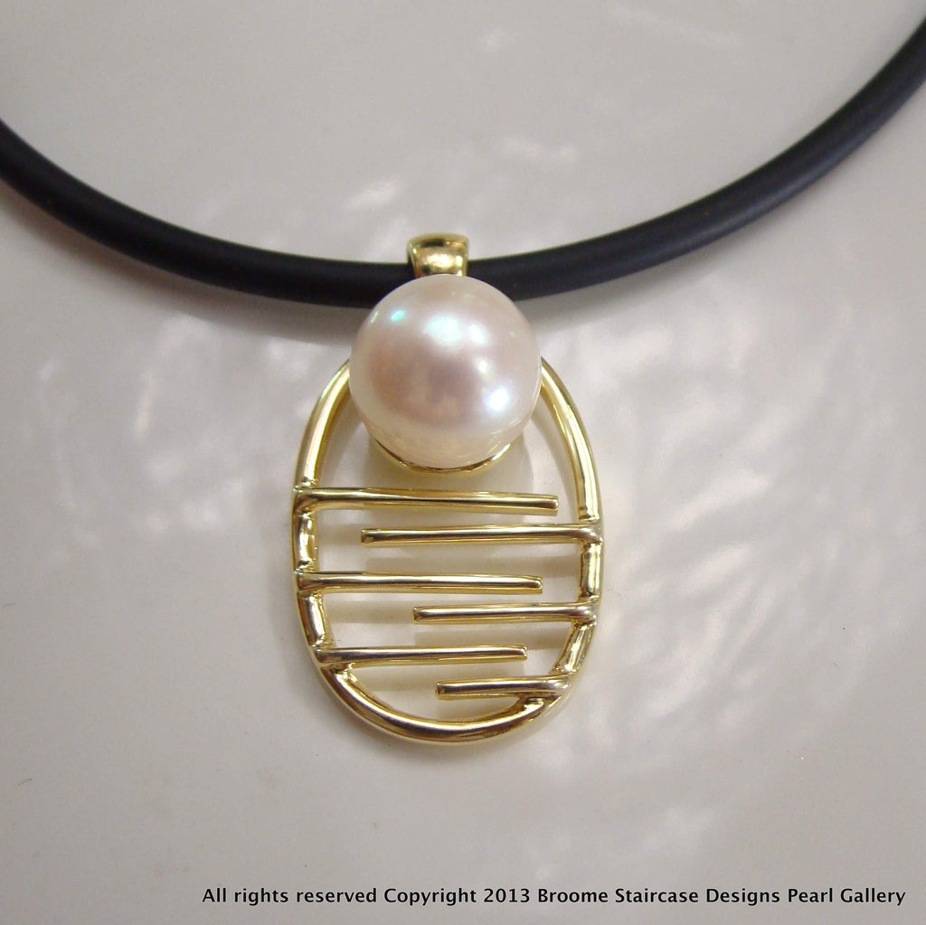 PEARL PENDANT MOONLIGHT BAY STAIRCASE TO THE MOON (white,e/p)**FREE NEOPRENE NECKLACE! - Broome Staircase Designs Pearl Gallery - 2