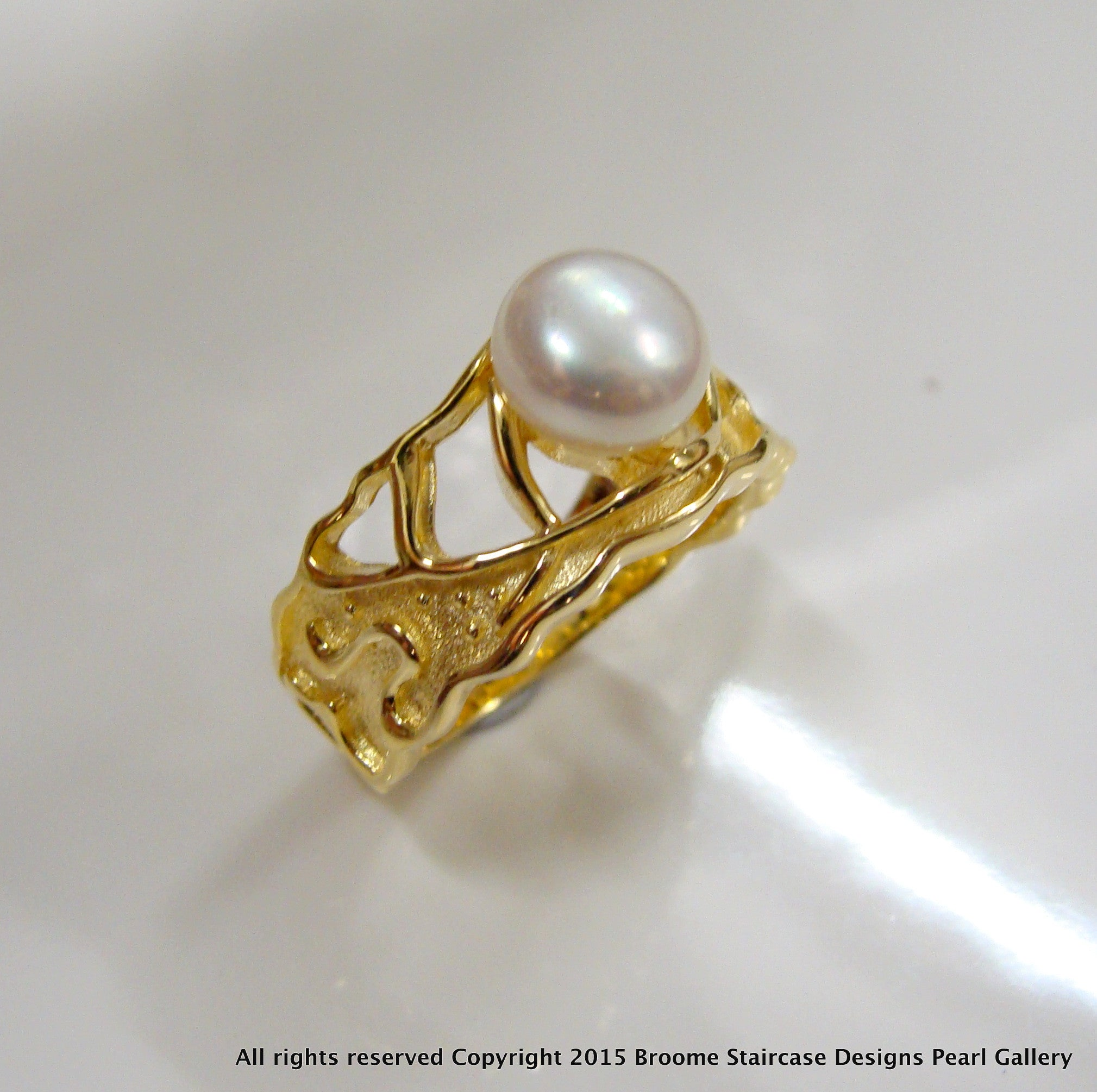 ring gold genuine diamond freshwater details rings pearl cultured about engagement rose itm