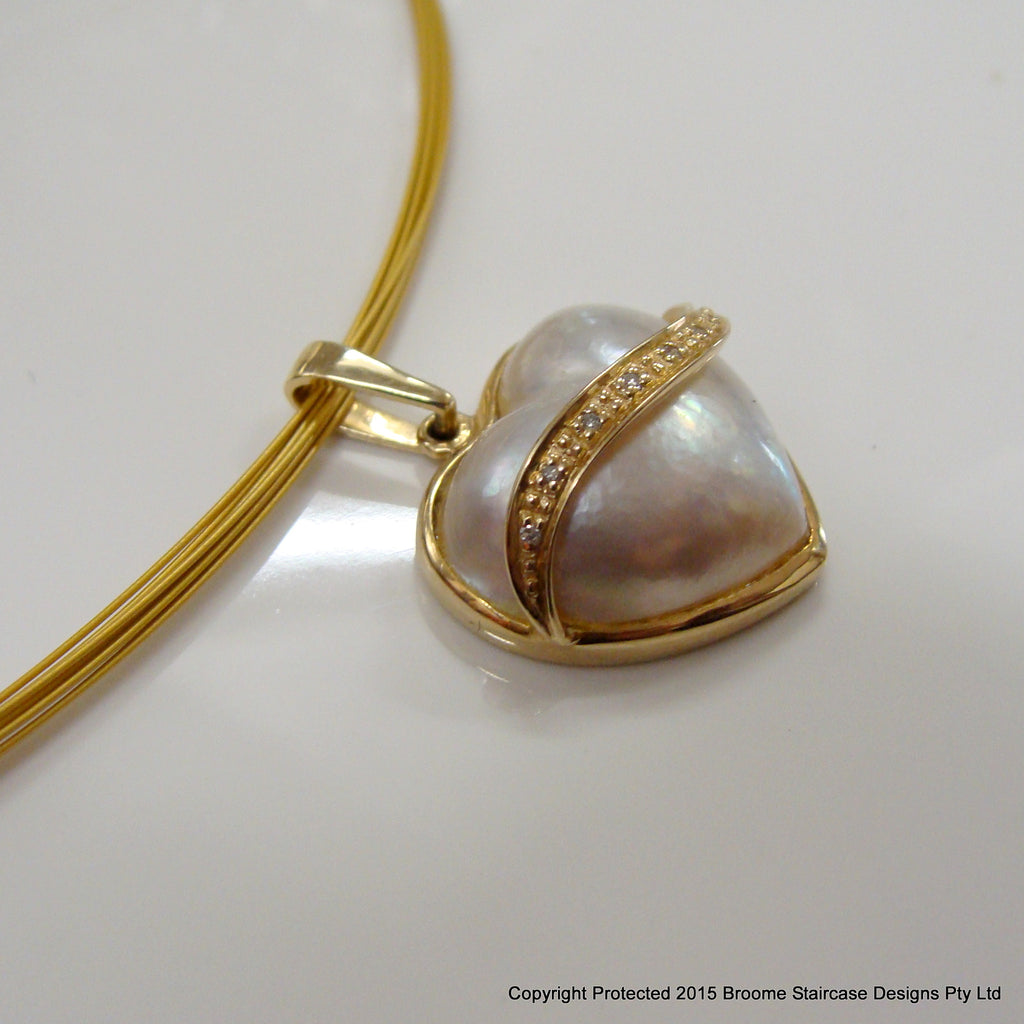 Broome Mabe Heart Pearl Pendant - Broome Staircase Designs Pearl Gallery