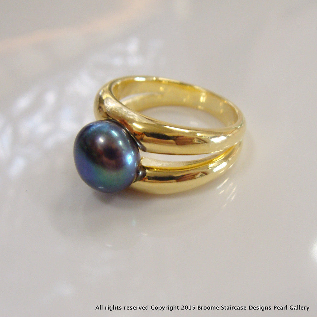 Black Freshwater Pearl Double Band Ring - Broome Staircase Designs Pearl Gallery