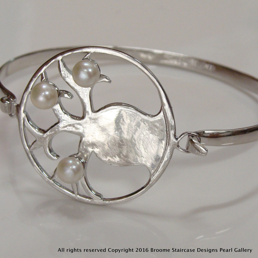 Cultured Pearl Sterling Silver Bangle Boab Design - Broome Staircase Designs Pearl Gallery