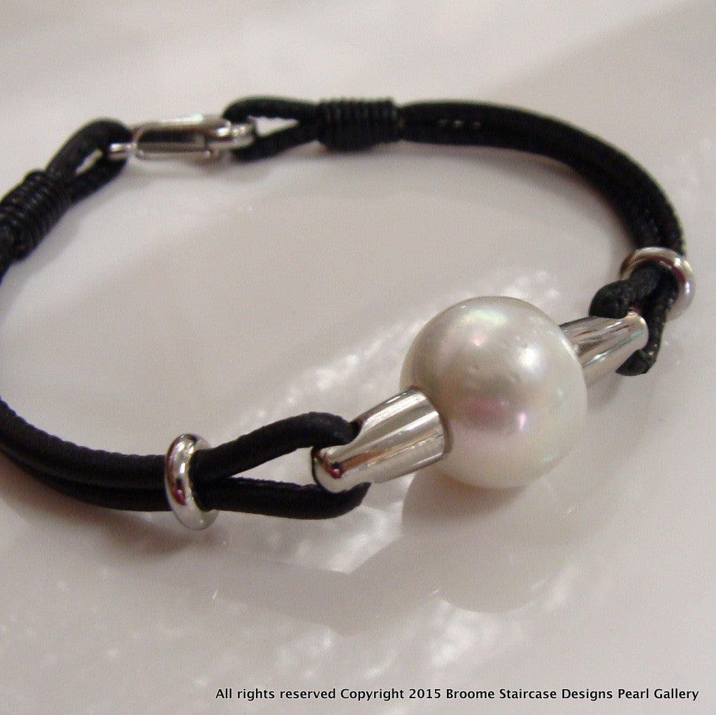 Cultured South Sea Pearl leather Bracelet - Broome Staircase Designs Pearl Gallery - 2