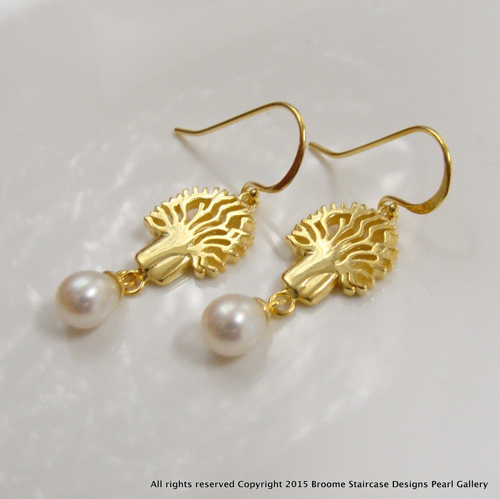 Boab Tree Pearl Earrings ep - Broome Staircase Designs Pearl Gallery - 1