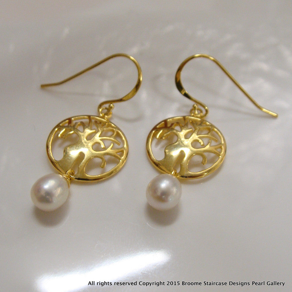 Boab Tree Pearl Earrings Round ep - Broome Staircase Designs Pearl Gallery - 1