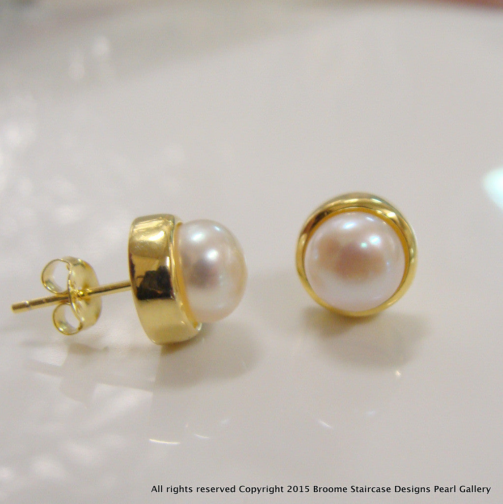 Cultured Freshwater White Pearl Studs Gold