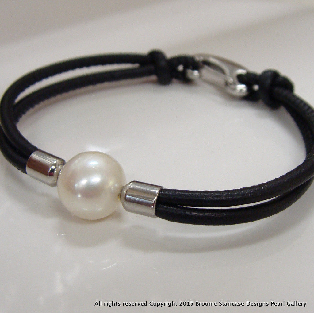 Cultured Pearl leather Bracelet - Broome Staircase Designs Pearl Gallery