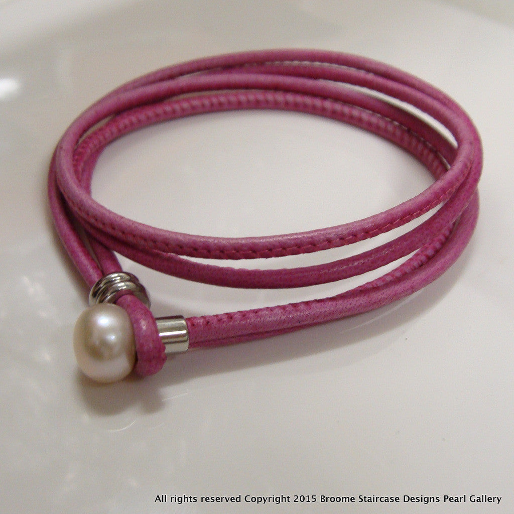 Cultured Pearl leather Bracelet (Wrap Around) - Broome Staircase Designs Pearl Gallery - 1