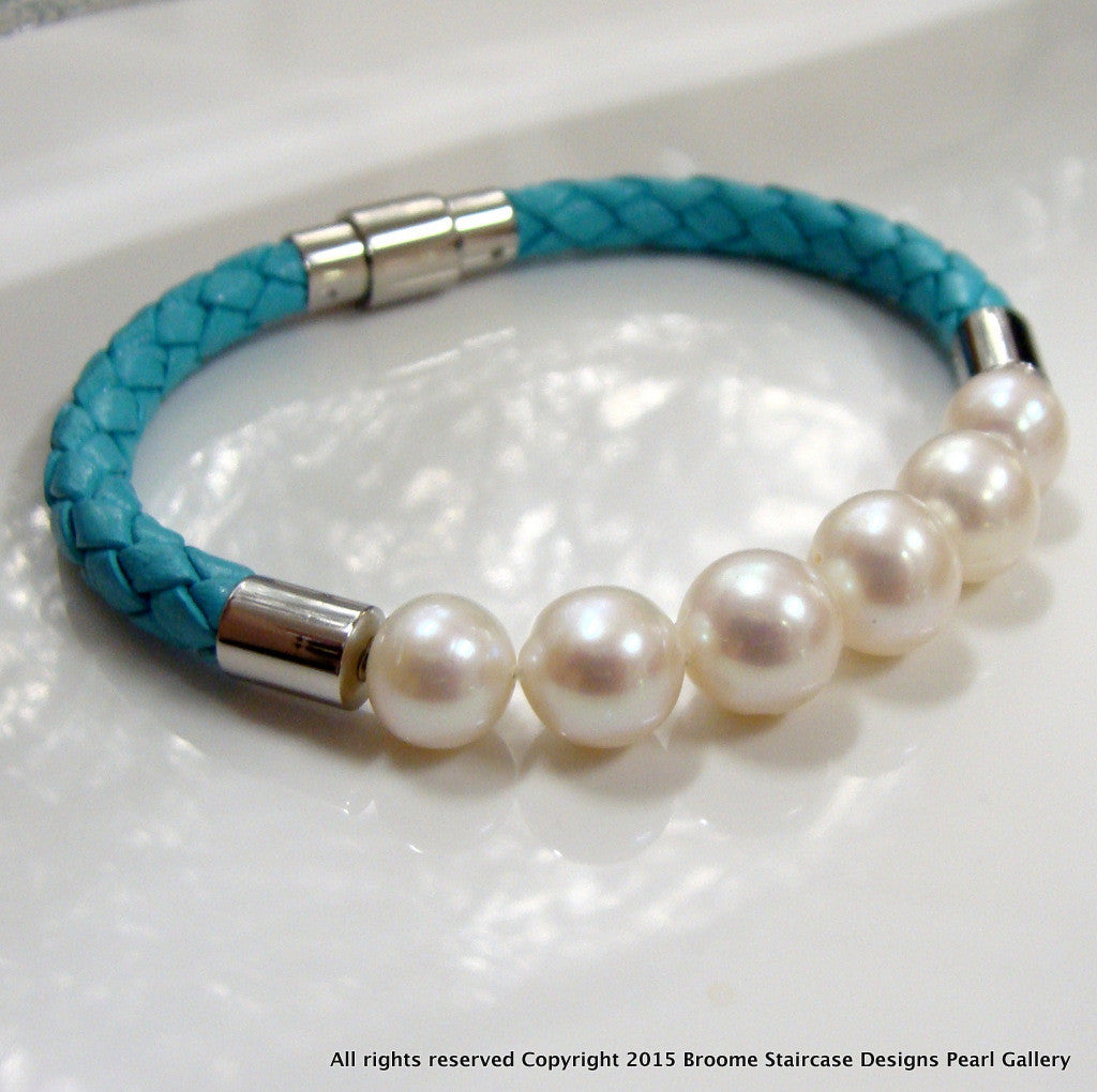 Cultured Freshwater Pearl Bracelet Bolo Turquoise Leather Bracelet