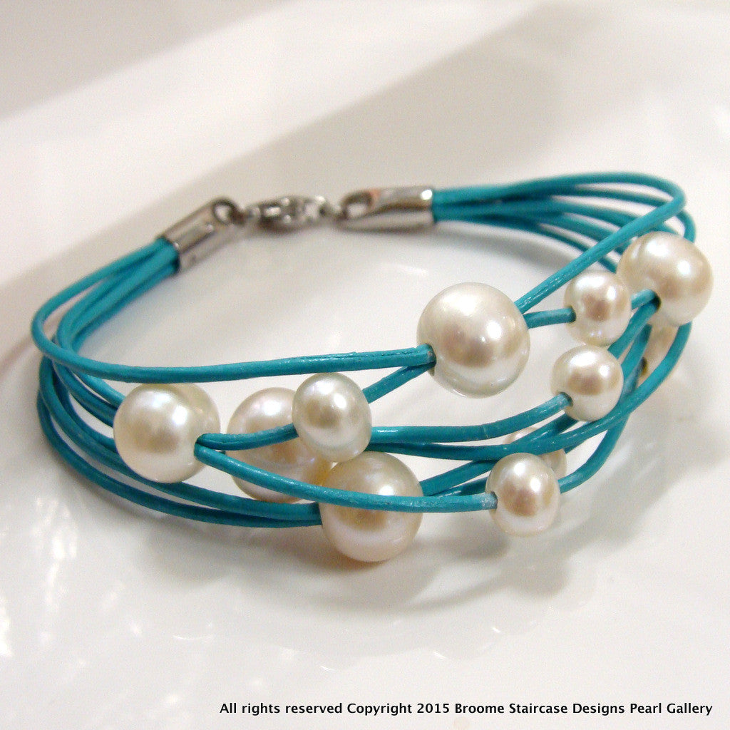 Cultured Pearl Multi-strand Turquoise Bracelet (NOW BACK IN STOCK!) - Broome Staircase Designs Pearl Gallery - 1