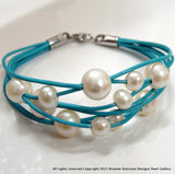 Cultured Freshwater Pearl Multi Strand Turquoise Bracelet